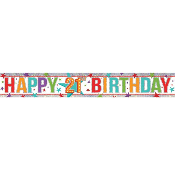 Holographic Multi Colour Happy 21st Birthday Foil Banner